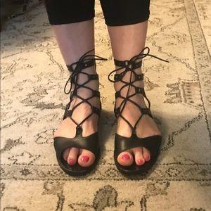 Vince Niva leather lace up black gladiator sandals